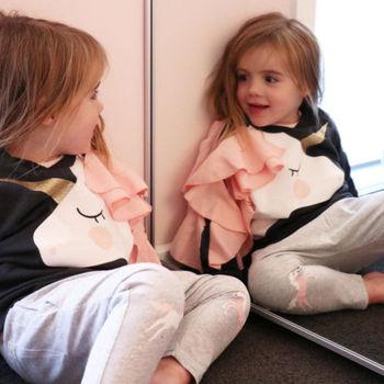 Moda familia a juego mujeres bebé niñas niños trajes Tops Camiseta de manga larga unicornio Ruffle ropa sudaderas