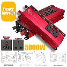 Красный Солнечный инвертор 12V 220V 5000W P eak преобразователь Напряжения DC 12V в AC 220V автомобильный инвертор UK/Универсальный ЖК-дисплей