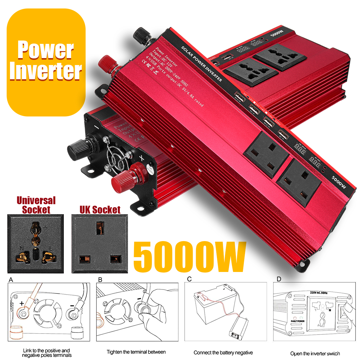 Red Solar Inverter 12V 220V 5000W P eak Voltage Transformer Converter DC 12V To AC 220V Car Inverter UK/Universal Plug LCDRed Solar Inverter 12V 220V 5000W P eak Voltage Transformer Converter DC 12V To AC 220V Car Inverter UK/Universal Plug LCD