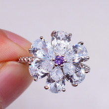 White Anillos De Diamond 14K Gold Ring for Women Wedding Bague Etoile Bizuteria Diamante Amethyst Jewelry Gemstone NoEnName