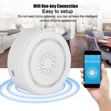 Sensor inteligente sem fio usb, sirene aplicativo push alertas compatíveis com alexa e google play sirena alarma sistemas de alarme casa de segurança