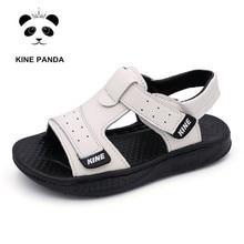 Unique Panda Boys Sandals Summer Little Kids Shoes for Boy Sandals Genuine Leather Toddler Baby Shoes Soft Rubber Bottom цена в Москве и Питере