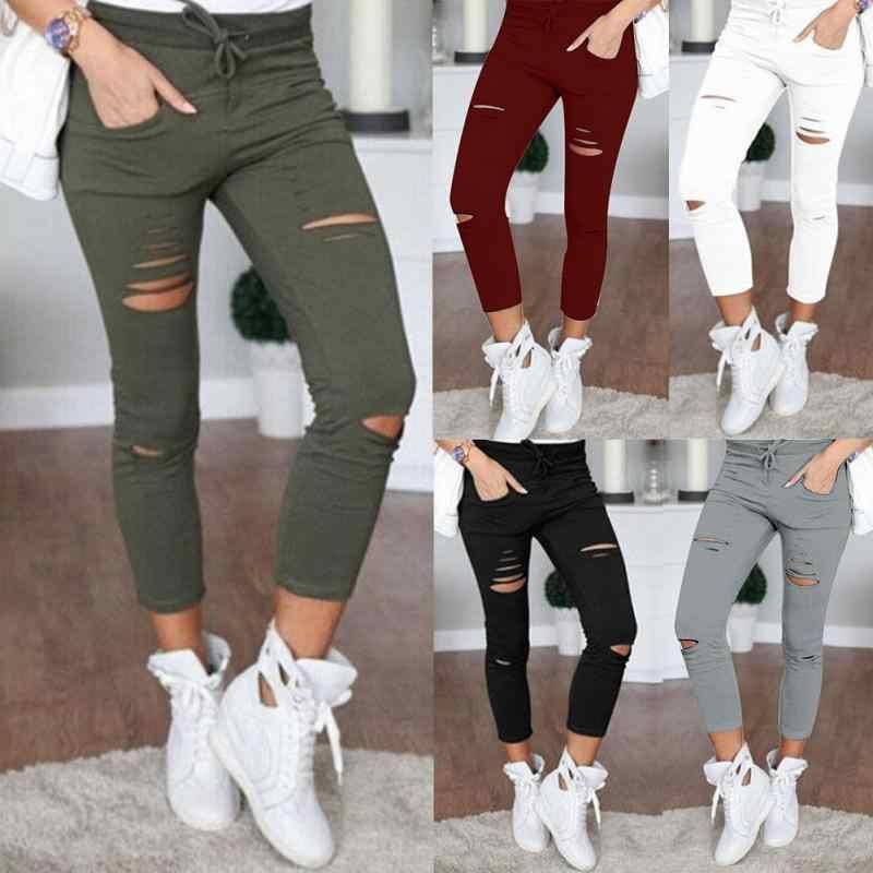 Модные женские повседневные обтягивающие узкие брюки-карандаш с дырками размера плюс 4 XL, черные, белые Стрейчевые рваные брюки 2019