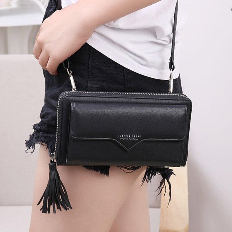 Phone Bag Women Wallets Leather Shoulder Bag Long Culutch Fashion Large Capacity Card Holder Female Zipper Wallet Slim Purse