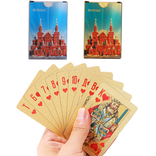 36pcs Russia Gold Playing Cards Waterproof  Poker Plastic Durable Diamond Standard Game
