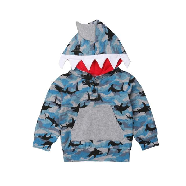 חדש Arrivels פעוט ילד תינוק ילד כריש סלעית חולצות Camo מעיל מעיל הלבשה עליונה מזדמן בגדים