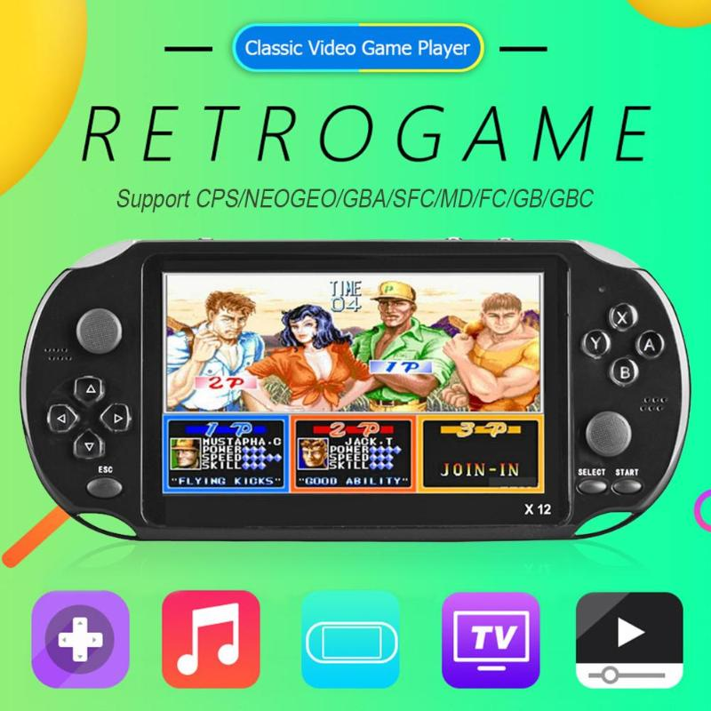 X12 5 1 inch Handheld Game Video Player Game Consoles with Double Rocker Built in 2500