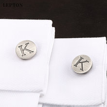 Запонки lepton мужские классические буквы алфавита к посеребренные
