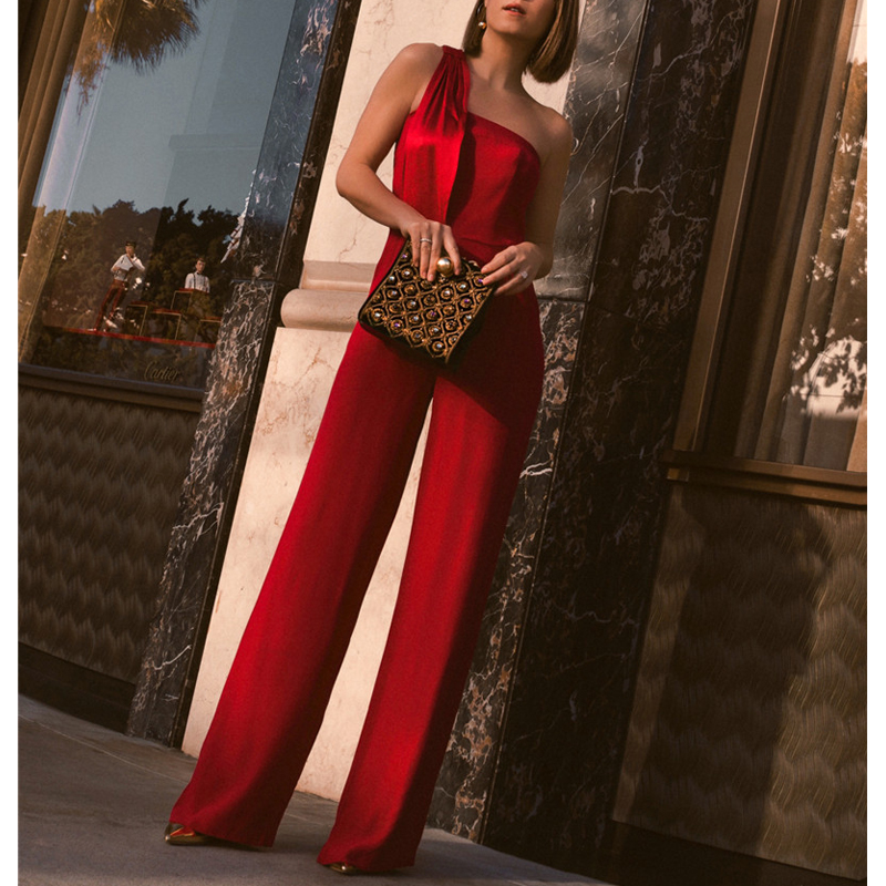 AEL High Waist Wide Leg   Jumpsuits   Casual Long Broad Leg Slim Elegance Bra Neck Red Palazzo Femme   Jumpsuit