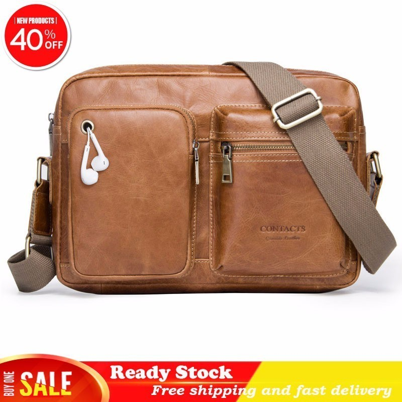 Luxury Brand Genuine Leather Man Oblique Satchel Head Layer Cowhide High Quality Brown Leisure Single Shoulder Package Briefcase