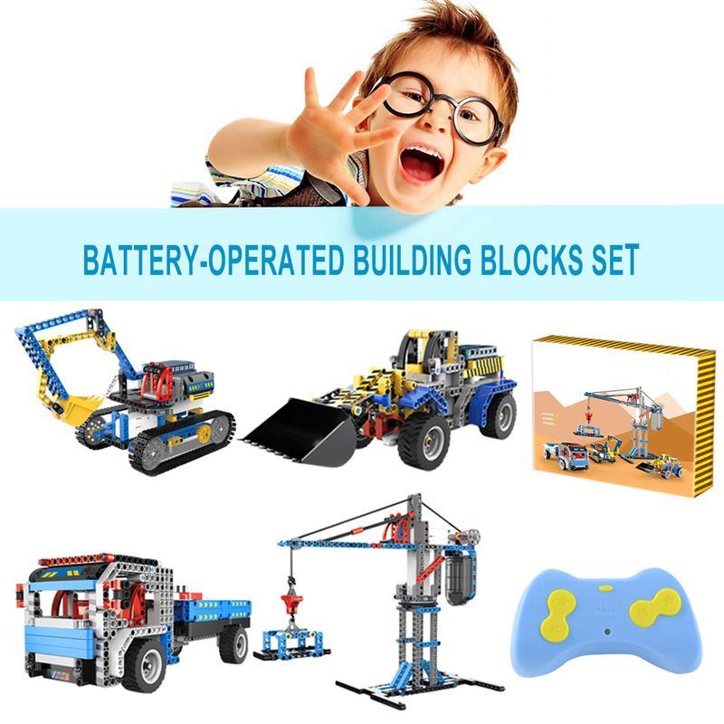 4 In 1 Building Block DIY Remote Control Engineering Vehicle Excavator Bulldozer Crane4 In 1 Building Block DIY Remote Control Engineering Vehicle Excavator Bulldozer Crane