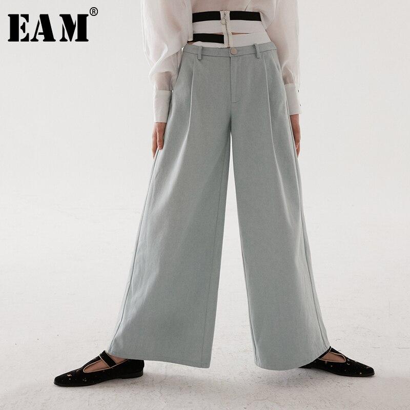 EAM 2019 New Spring Summer High Elastic Waist Light Blue Denim Striped Hollow Out Wide