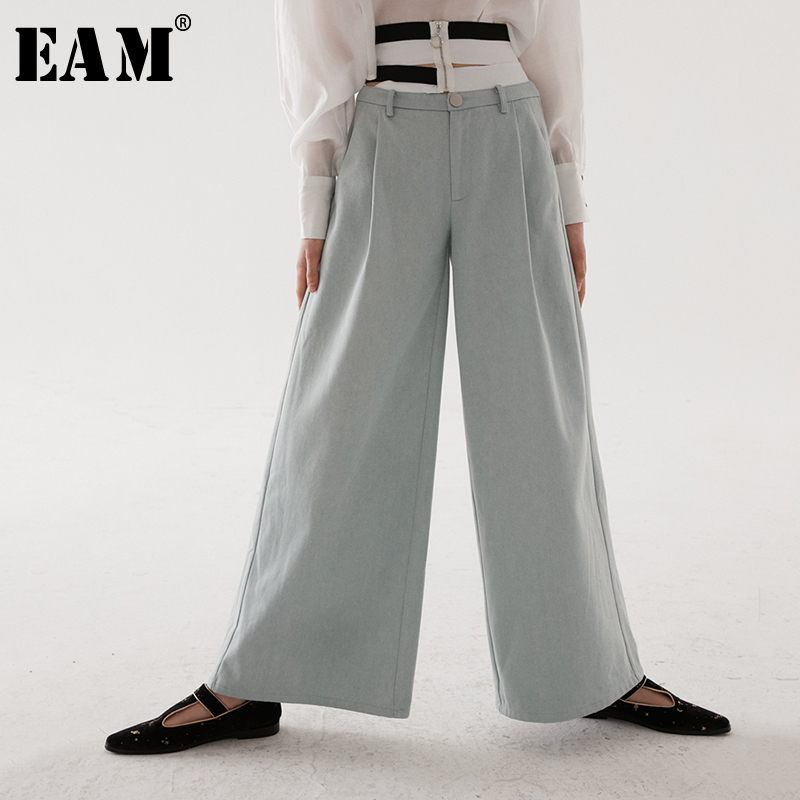 [EAM] 2019 New Spring Summer High Elastic Waist Light Blue Denim Striped Hollow Out   Wide     Leg     Pants   Women Trousers Fashion JR429