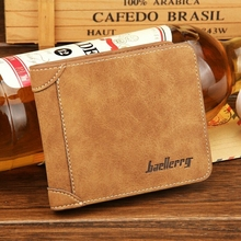 лучшая цена Europe And United States Retro Men's Wallet Men's Card Package Matte Leather Wallet Card Package Simple