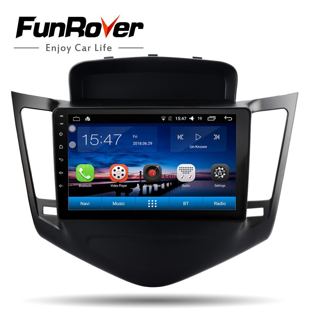 Lecteur DVD multimédia FUNROVER Android8.0 autoradio pour Chevrolet Cruze 2009-2013 2din navigation gps avec volant stéréo