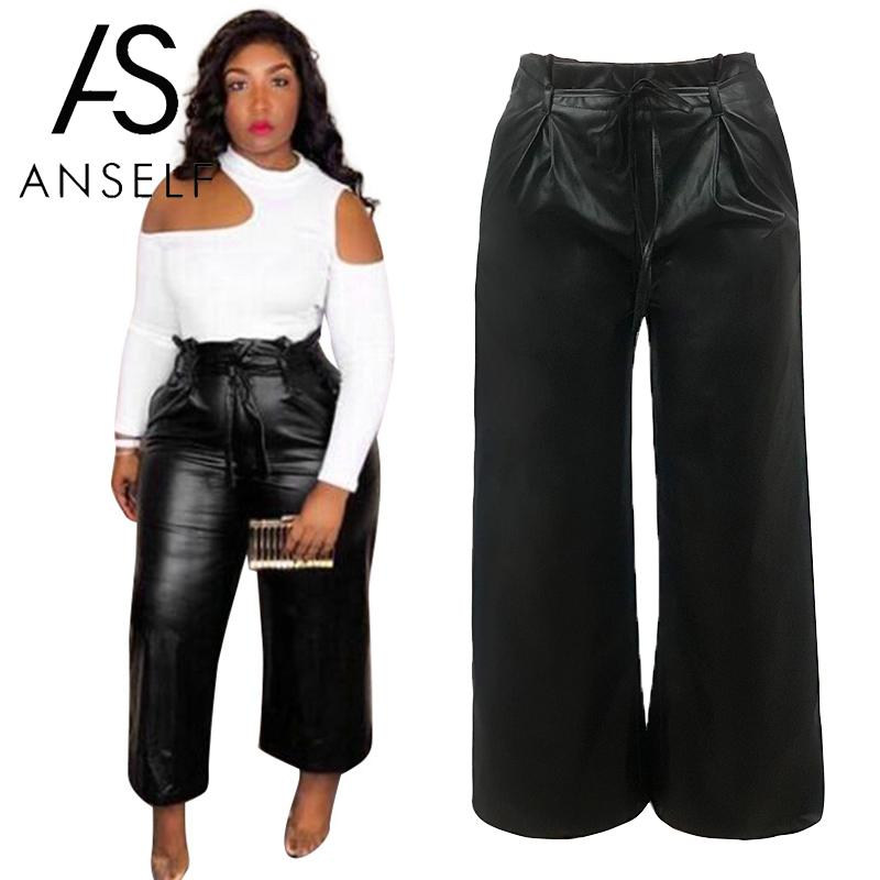 Women PU Leather   Pants   Solid Color High Waist Straight   Wide   Loose   Legs   Bandage Zipper Party Wear Casual Trousers   Wide     Leg     Pants