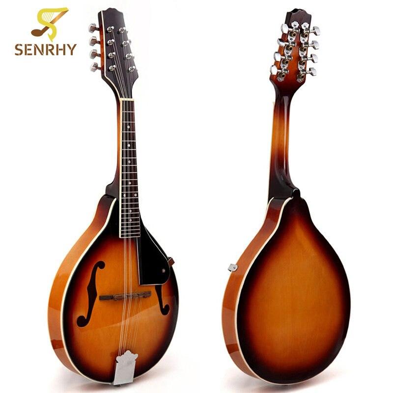 SENRHY coucher de soleil couleur palissandre 8 cordes F trou guitare basse électrique 20 Fret ukulélé pour les amateurs d'instruments à cordes musicales chaud