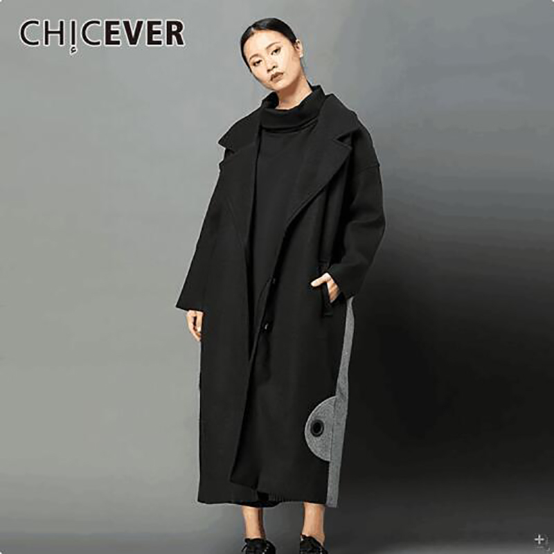CHICEVER Winter Plus Thick   Trench   Coat Female Women's Windbreaker Long Sleeve Loose Big Size Hit Colors Overcoat Clothes Fashion