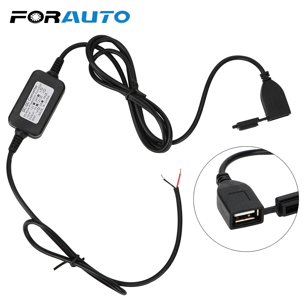 FORAUTO Motorcycle USB Socket For Phone DC 12V Vers 5V Adapter GPS Power Supply Port Socket For Moto USB Converter