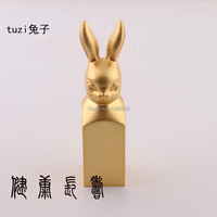 18KT Gold Plated Hot Fashion Rabbit Chinese Culture Word Seal Stamps Personality Gift For Friend Metal Crafts