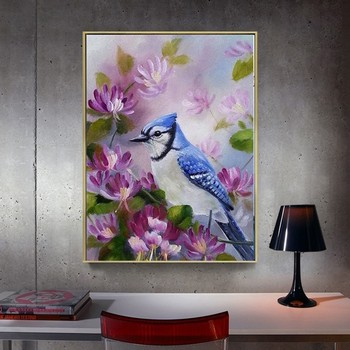 HUACAN 5D DIY Diamond Painting Animal Bird And Flowers Full Square Rhinestone Diamond Embroidery Cross