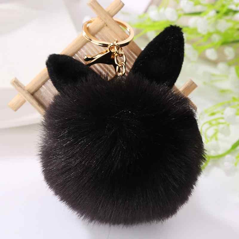 Saco de Pele de moda Ornamento de Suspensão Bonito Orelhas de Coelho Cabelo Bola Pendurada Imitação Cony Cabelo De Pelúcia Chaveiro Pendurado Decoração