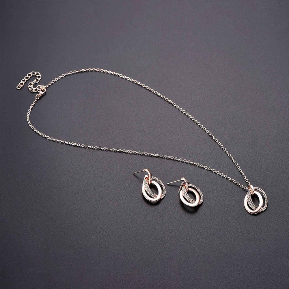 Heiße Mode Frauen Hohl Doppel Oval Ring Schmuck Set Strass Hochzeit Halskette Ohrringe
