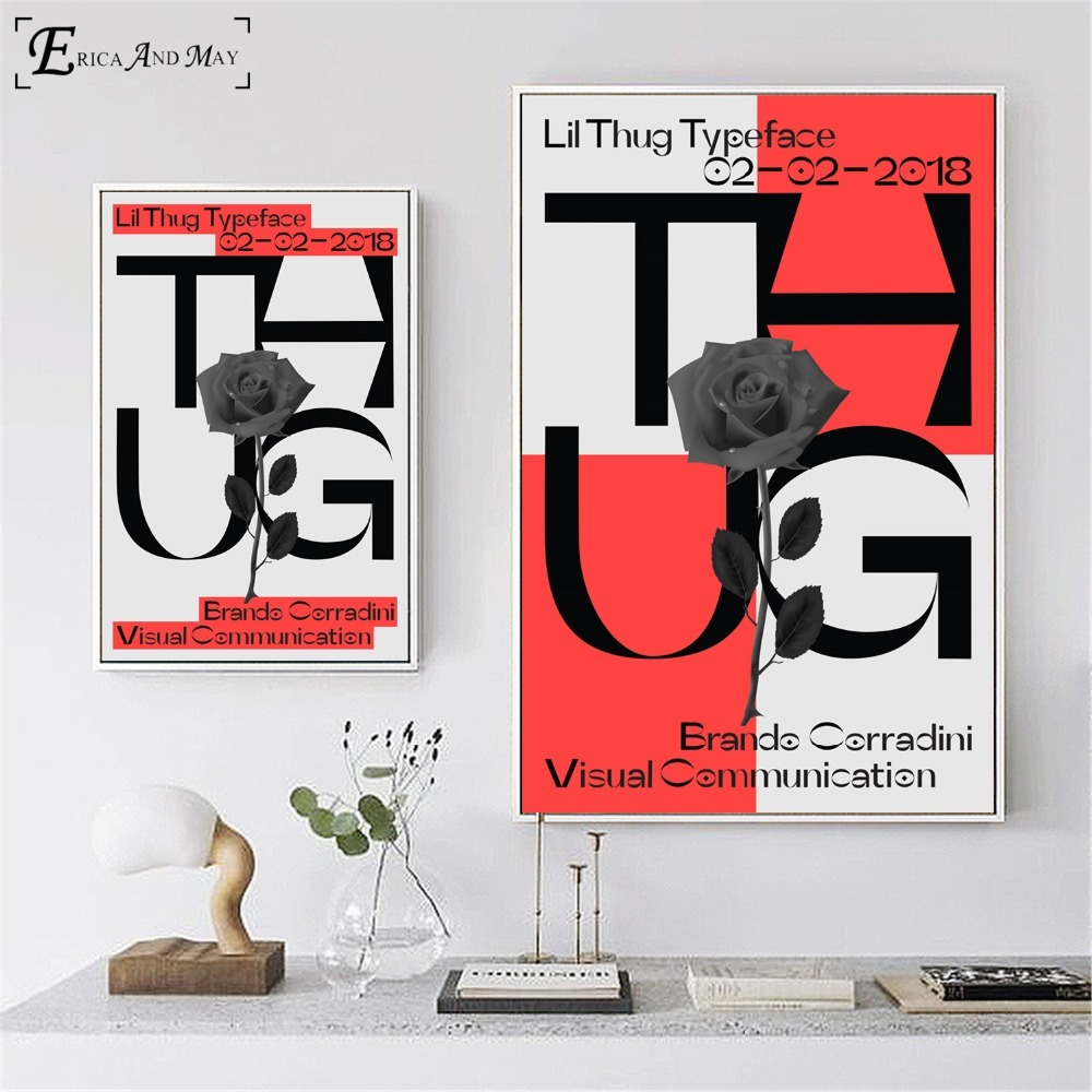 Lil Peep Thug Typeface <font><b>Logo</b></font> <font><b>Poster</b></font> And Print Canvas Art Painting Wall Pictures For Living Room Decoration Home Decor No Frame image