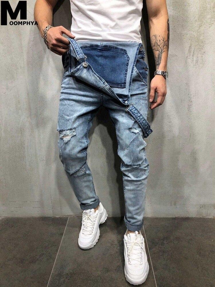 2019 New Ripped holes denim overalls men jeans Sreetwear hip hop suspenders pants jeans men braces cargo pants jean homme