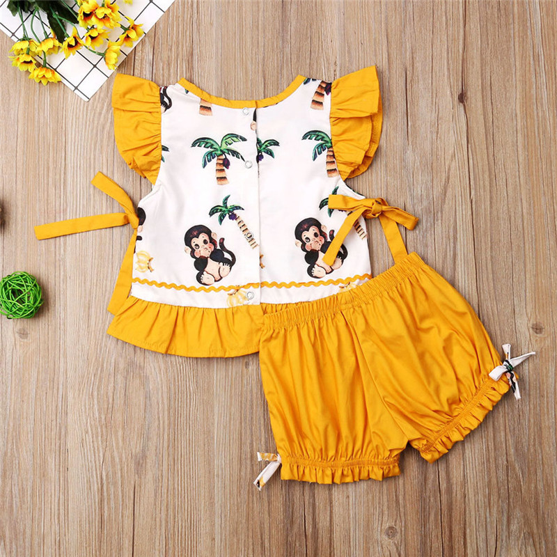 Clothing Sets Girls' Clothing Toddler Kids Baby Girl Cartoon Monkey Tops Bloomers Shorts 2pcs Outfits Set Clothes 6-18m 1-4y