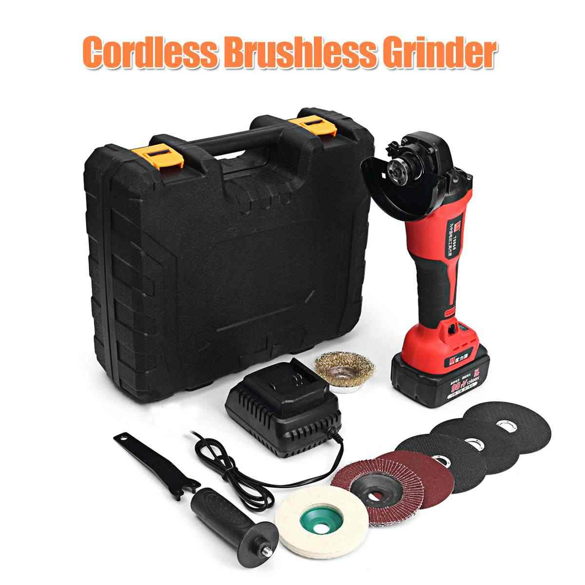 21V Cordless Brushless Grinder Tools 3.0Ah Rechargable Lithium Li-ion Battery 100mm Angle Grinding Cutting Machine Kit Box