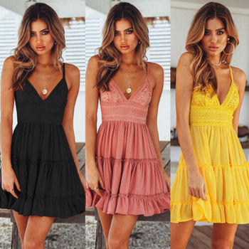 2019 New Women Summer Black Backless Layers Sweet Boho Short Mini Dress V Neck High Waist Evening  Party Beach Dresses Sundress
