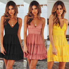 2019 New Women Summer Boho Short Mini Dress V Neck High Waist Evening Party Beach Dresses Sundress