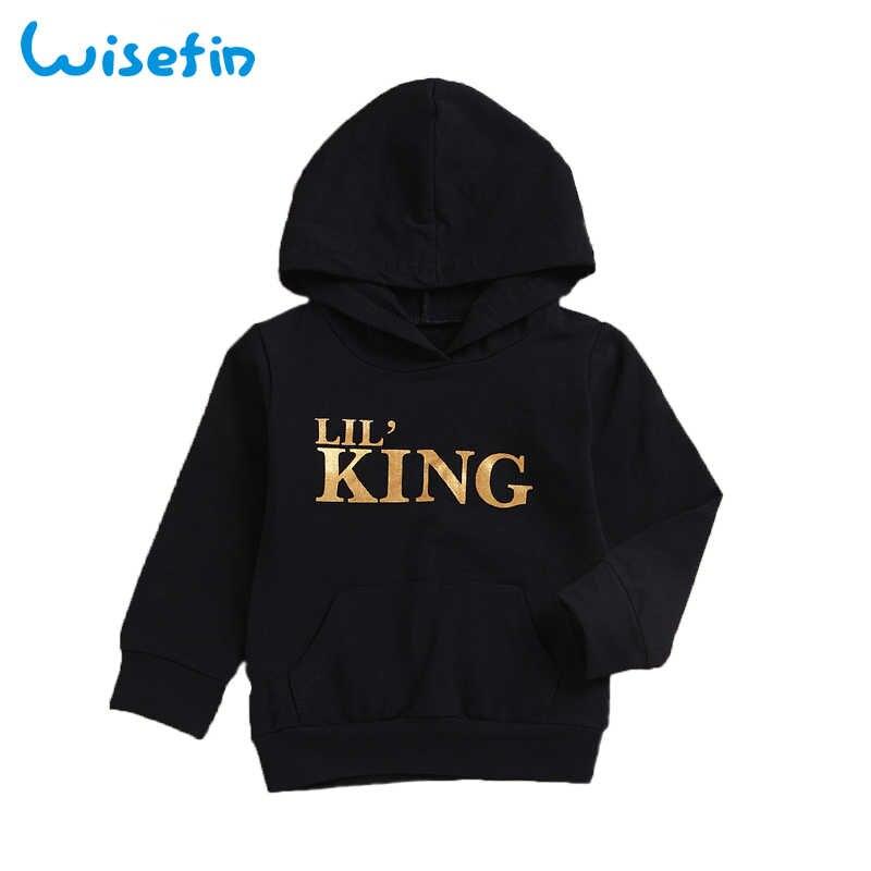 Brief King Baby Hoodies Hoge Kwaliteit Lange Mouwen Katoen Hooded Zwart Of Wit Fashion Kids Kleding Voor Jongen Meisje Ademend
