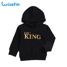 Letter King Baby Hoodies High Quality Long Sleeve Cotton Hooded Black or White Fashion Kids Clothes For Boy Girl Breathable