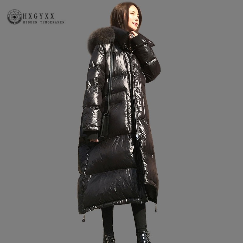 2019 White Duck   Down   Jacket Fur Collar Glossy Winter Parka Slim Warm Goose Feather   Coat   Long Plus Size Woman Clothing Okd734