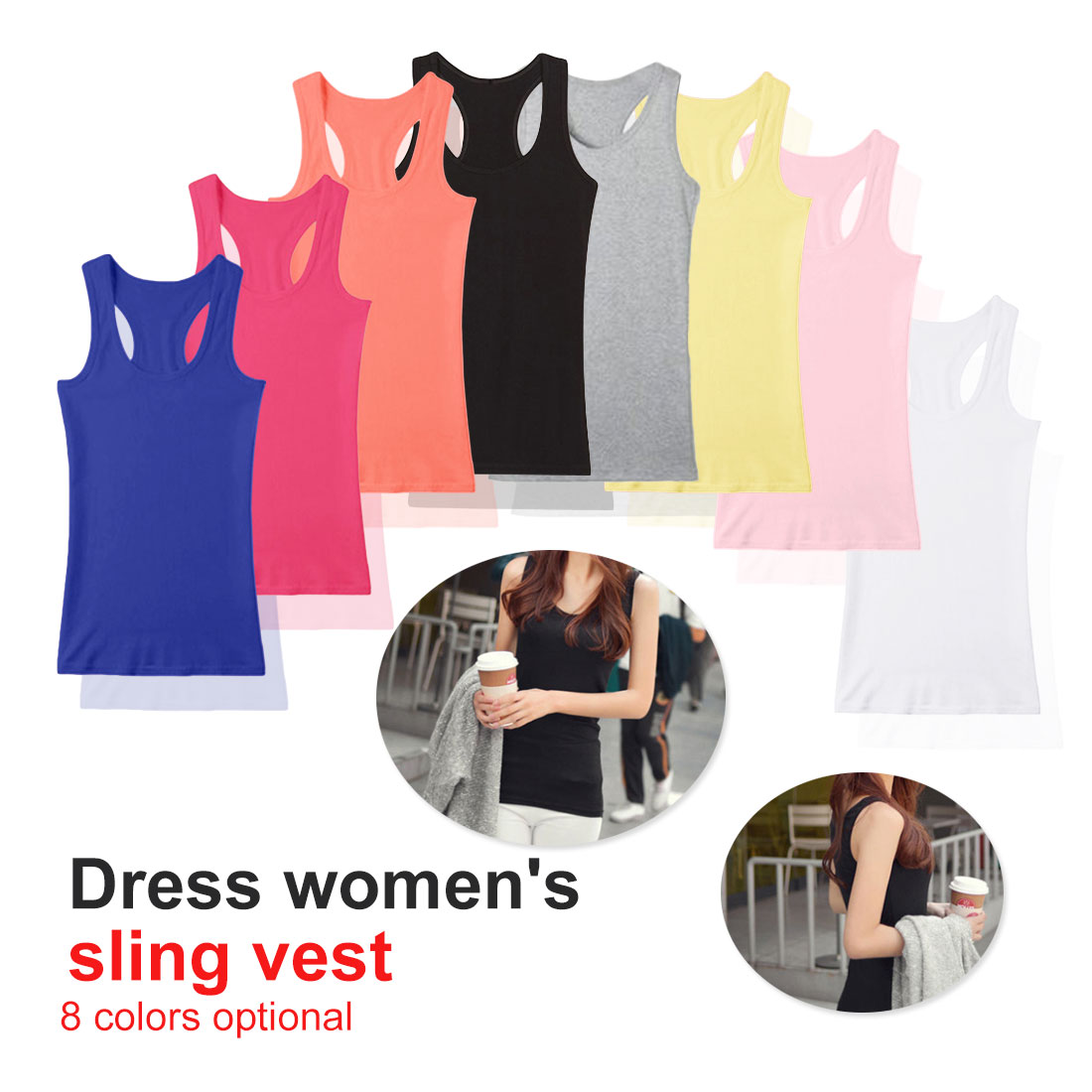 New Solid Slim Women   Tops   Summer Sleeveless Jersey Cotton Camis Tees For Woman Sexy   Top   White Black Multicolor Vest