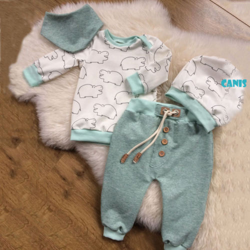 2018 Autumn Winter Toddler Baby Boy Cotton Hippo Pattern Long Sleeve Tops T-shirt Green Pants Leggings Hat Outfit Set 3pcs Street Price