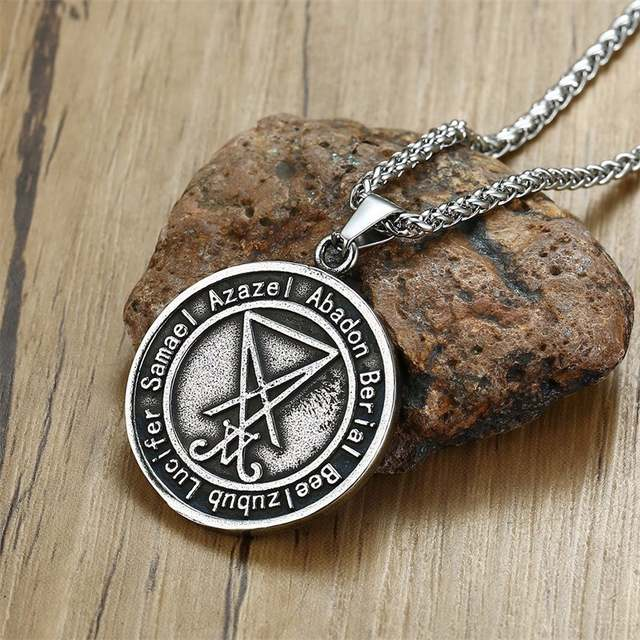 US $4 36 43% OFF|Lucifer Sigil Want Need Satan Occult Morning Star Pendant  Necklace for Men Stainless Steel Pagan Jewelry 24 inch Chain-in Pendant