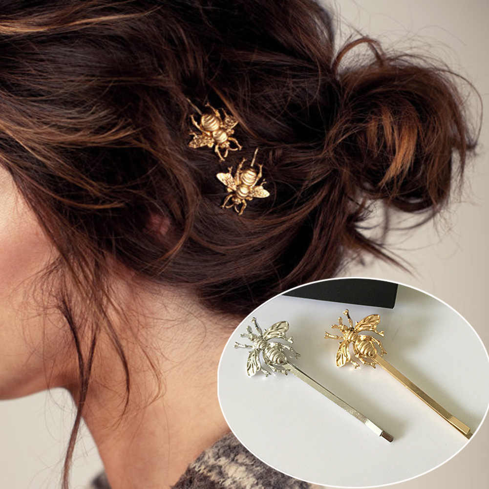 Barrettes Women'S Fashion Style Girl Exquisite Floral 2019 New Spring Gold Bee Hairpin Side Clip Silver Chic Hair Accessories