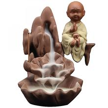 Backflow Incense Burner Ceramic Little Monk Holder Creative Home Decor Aromatherapy Buddha Censer Decorative