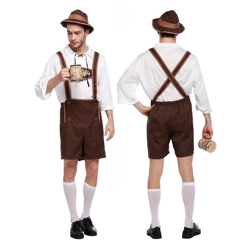2018 Oktoberfest Halloween Costume Mens Lederhosen Oktoberfest Bavarian German Beer Costume Adult's Stage Performance Clothing
