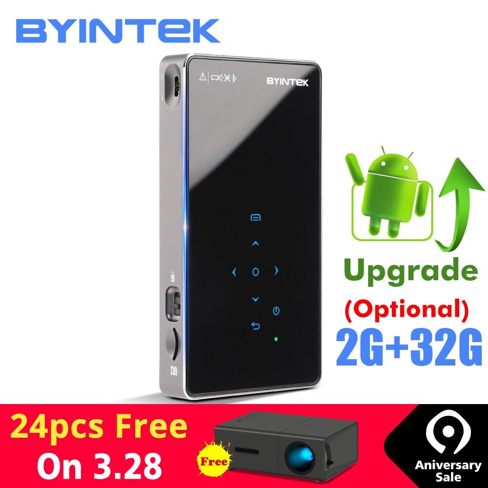BYINTEK UFO P8I Android 7.1 OS Pico Tasche HD Tragbare Micro lAsEr WIFI Bluetooth Mini LED DLP Projektor mit Batterie