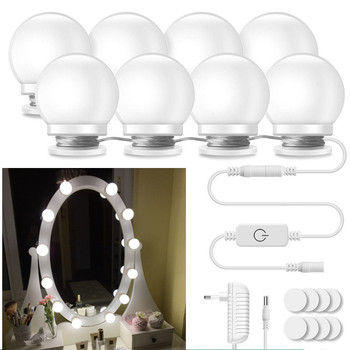 Vanity Mirror Lights, Hollywood Style Led Mirror Light 10/12 Dimmable Bulbs Kit For Makeup Dressing Table With Touch Dimmer фото