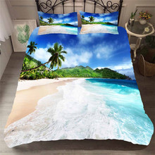 Bedding Set 3D Printed Duvet Cover Bed Set Beach Coconut Tree Home Textiles for Adults Bedclothes with Pillowcase #HL21 beach style dusk coconut tree pattern square shape pillowcase