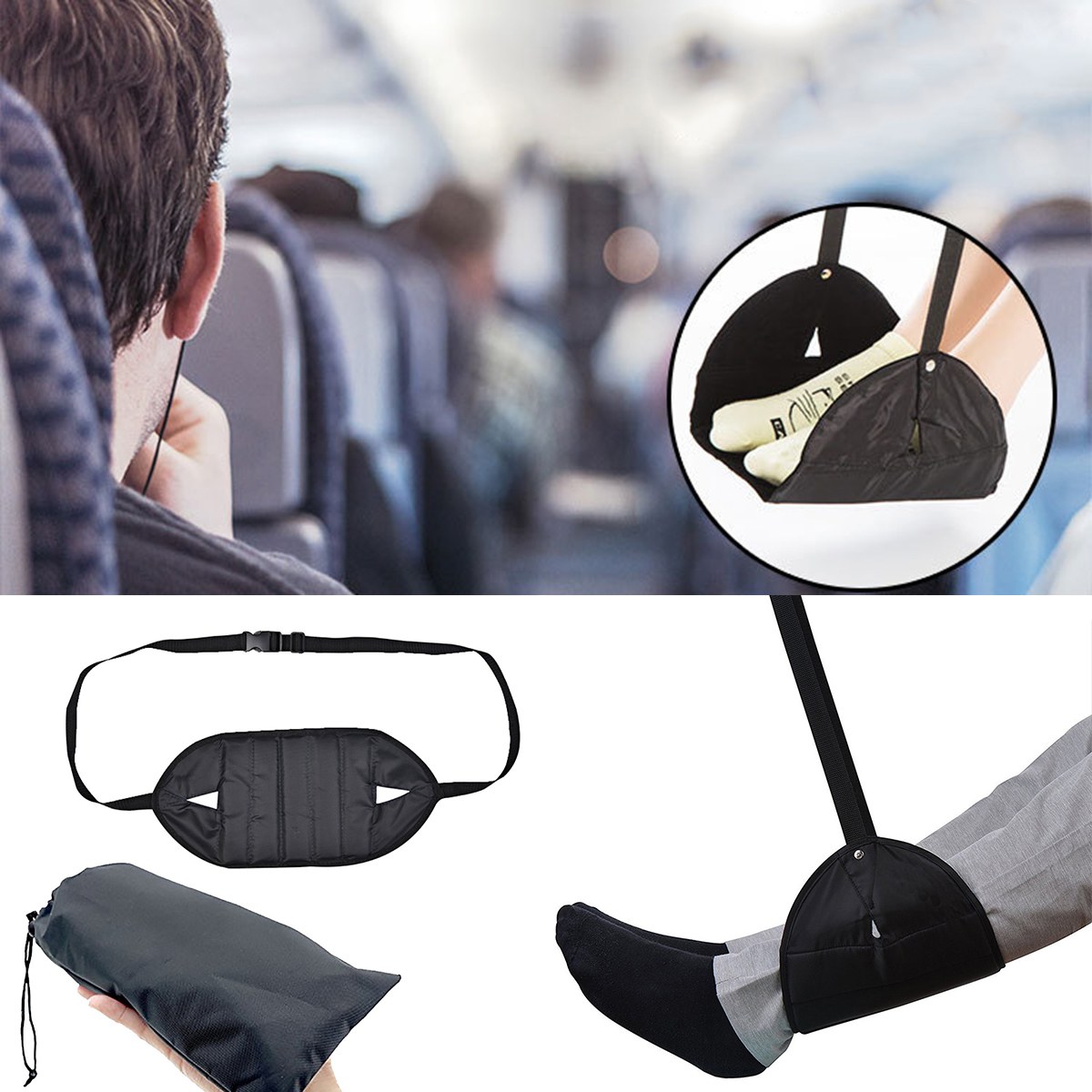 Portable Travel Foot Rest Lightweight Airplane Footrest quick release buckle relieve tiredness  Travel AccessoriesPortable Travel Foot Rest Lightweight Airplane Footrest quick release buckle relieve tiredness  Travel Accessories