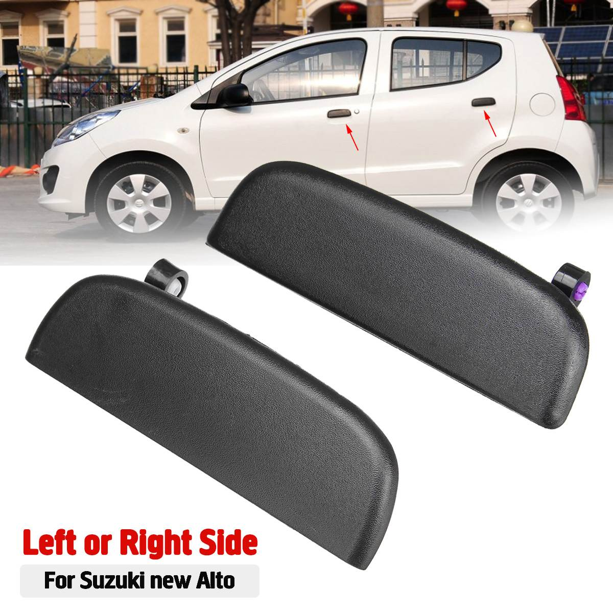 Car Front Rear Outer Exterior Door Open Handle Outside Door Knob Left Right Black For Suzuki New Alto-in Exterior Door Handles from Automobiles & Motorcycles