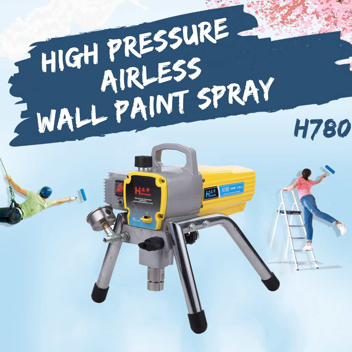 H780 1800 w Moteur 2.8L Profesional Électrique Pulvérisateur De Peinture Airless Peinture Machine avec pistolet haute pression tuyau