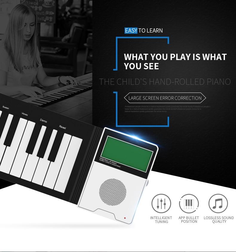 Mini controlador midi digital enrollar sintetizador eléctrico instrumentos musicales pionino eléctrico suave teclado piano con etiqueta