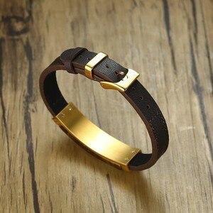 Image 4 - Gent klasyczna prostokątna bransoletka ze stali szlachetnej i brązowa prawdziwa skóra z biżuterią tygrysa